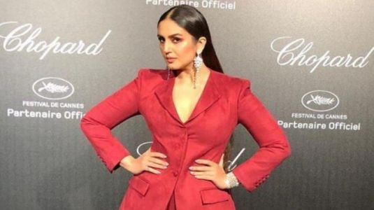 Huma Qureshi sets the temperature soaring in sheer tulle dress and blazer at Cannes 2019 party