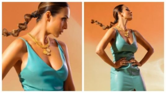 Malaika Arora in teal leather dress sets Instagram on fire. Pics here