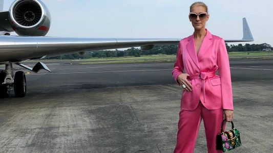 Céline Dion's Hot Pink Pantsuit Is a Travel Aesthetic to Which We Can All Aspire