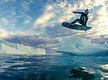 Thick-skinned athlete wakeboards on a glacier around the 'iceberg capital of the world'