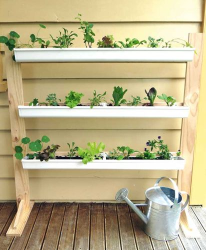 DIY project: Build a vertical gutter garden for growing salad greens