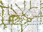Tube map that shows London Underground trains moving in real time