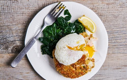 Fish cakes with poached eggs and spinach