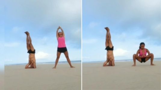 Milind Soman and Ankita Konwar workout together on a beach in Gujarat. Watch new video