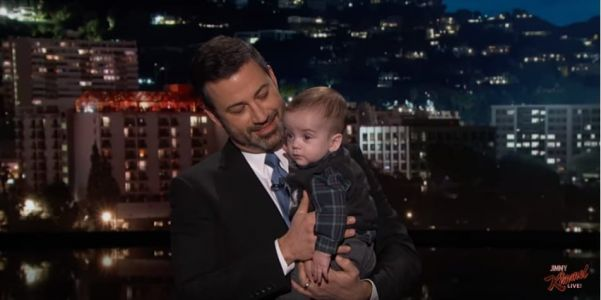 Jimmy Kimmel holds his baby son, post-heart surgery, in emotional health-care monologue