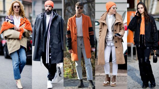 The Street Style Crowd Wore Pops of Orange at Milan Men's Fashion Week