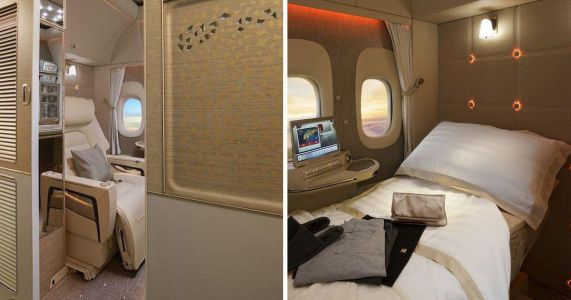 You need to check out Emirates' luxury new first-class cabins which are basically mini hotel rooms