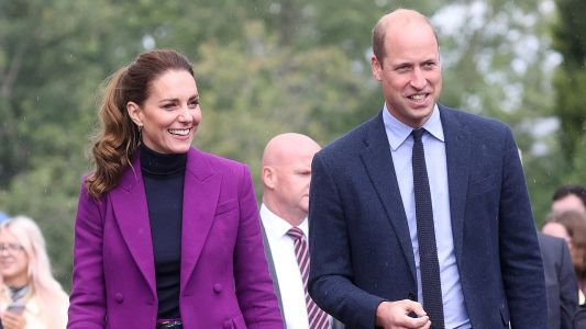 Kate Dons A Purple Pantsuit And A Lululemon Jacket During Surprise Northern Ireland Trip