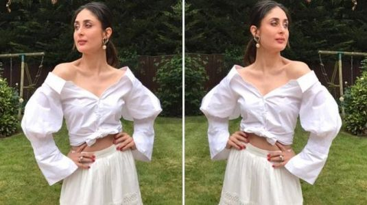 Kareena Kapoor Khan breaks white monotony with a pop of pink. See pics