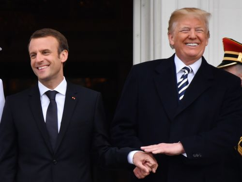 Watch Donald Trump's Incredibly Awkward, Touchy-Feely Moments With French President Emmanuel Macron