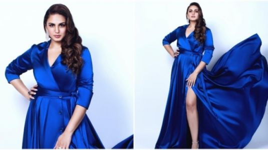 Huma Qureshi rocks thigh-high blue satin gown in style. All pics