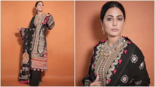 Hina Khan is regal in exquisite Rs 7k kurta and pants with dupatta for photoshoot. See pics